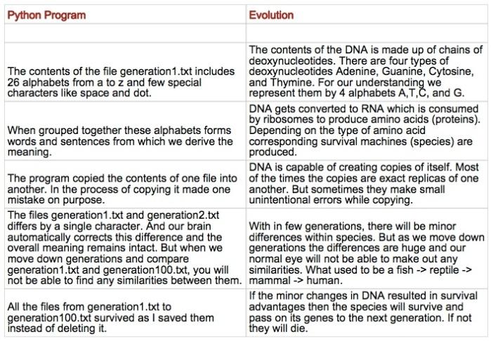evolution-python-analogy